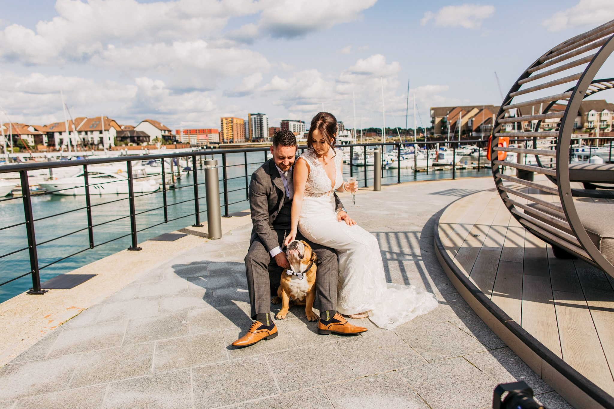 Southampton Harbour Hotel Bride and Groom with bulldog