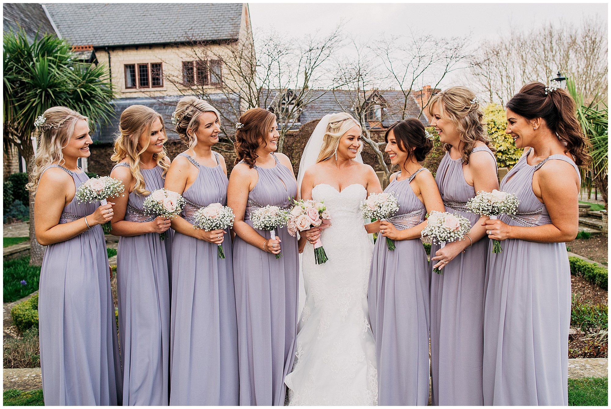 bride and bridesmaids at pennyhill park hotel and spa